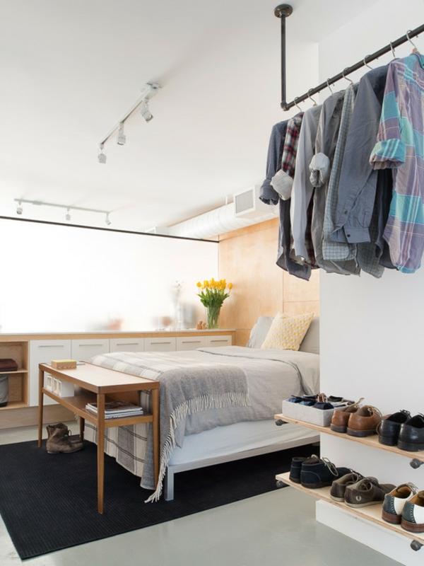 schlafzimmer ideen zeitgenössisch schuhregale bett