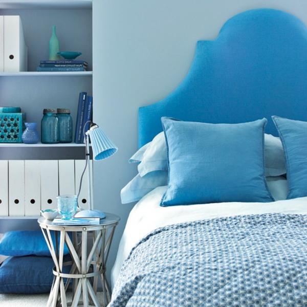 schlafzimmereinrichtung farben gestalten dekoideen blau