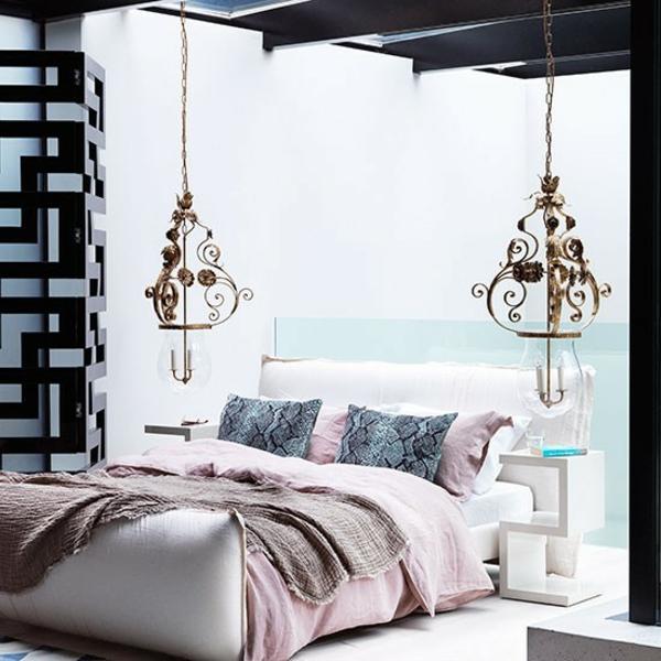 schlafzimmereinrichtung farben gestalten hängelampen