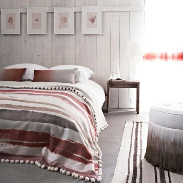schlafzimmereinrichtung farben gestalten dekoideen streifen bettwäsche
