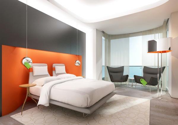 Gestalten Einrichtungsideen Modern Orange Schlafzimmerwand