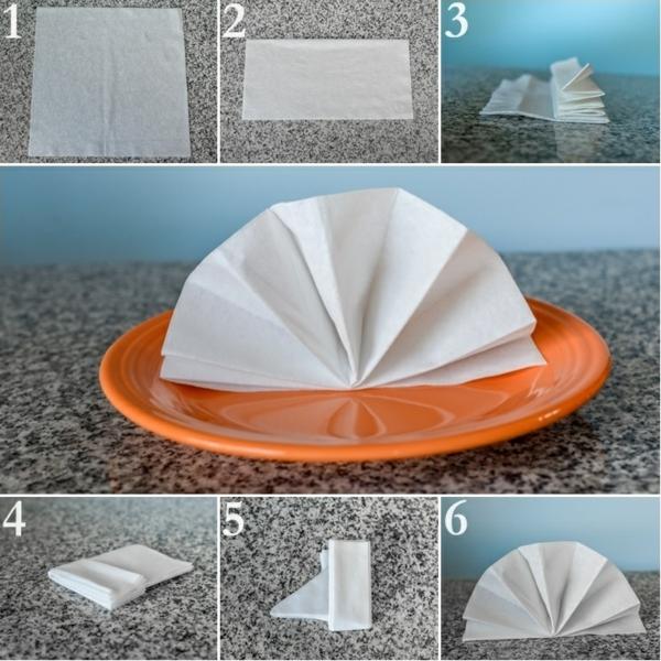 servietten falten anleitung feder tischdeko kreieren