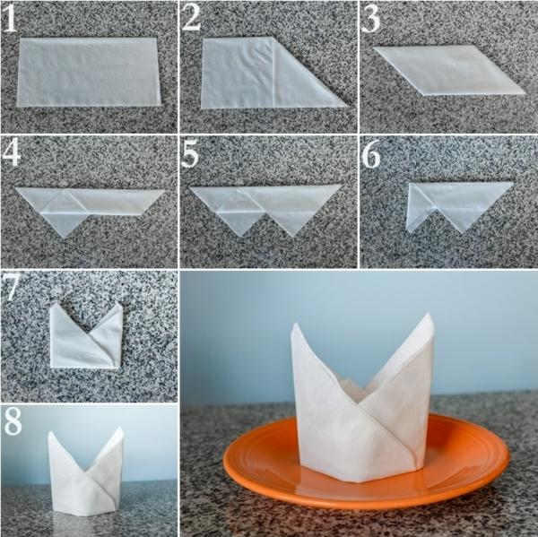 papierservietten falten anleitung festliche tischedeko. Black Bedroom Furniture Sets. Home Design Ideas