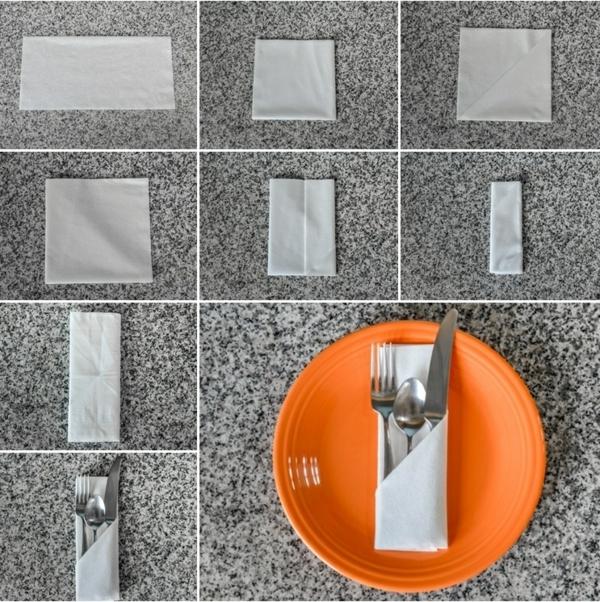 servietten falten anleitung kreative bastelideen tischdekoration bestecktasche basteln