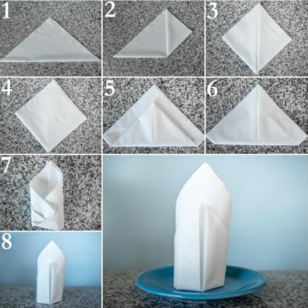 servietten falten anleitung tischdeko weiße papierservietten falten