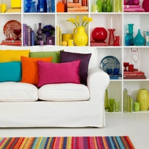 dekoration farbige dekokissen schüssel kerzenleuchter
