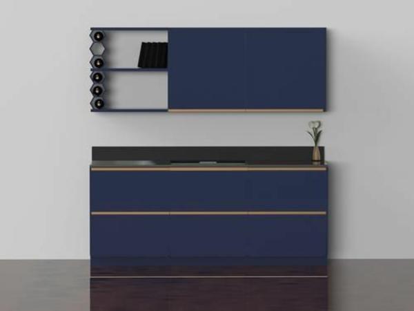 modulküchen designideen küche mini blau
