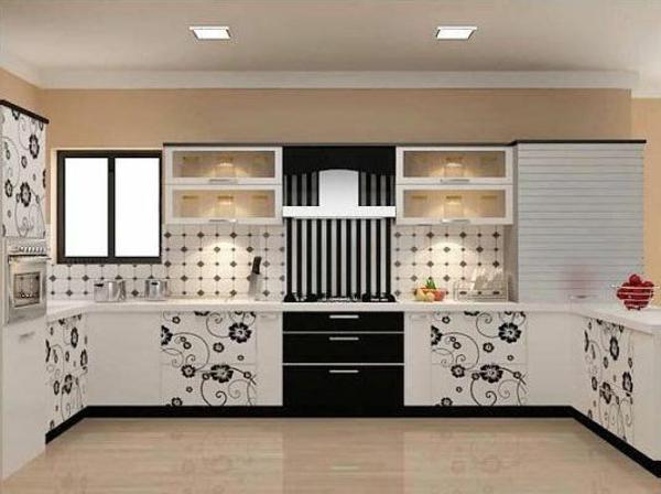 modulküchen designideen küche schwarz weiß blumenmuster