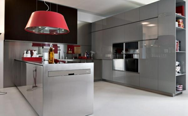 modulküchen küchen italienisch rote pendelleuchte