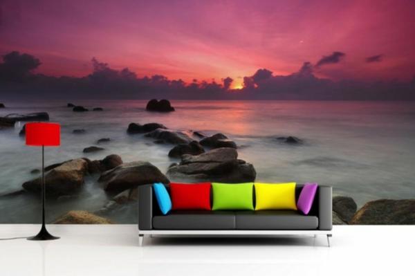 wandgestaltung tapeten  haushalt schöne designs sofa kissen