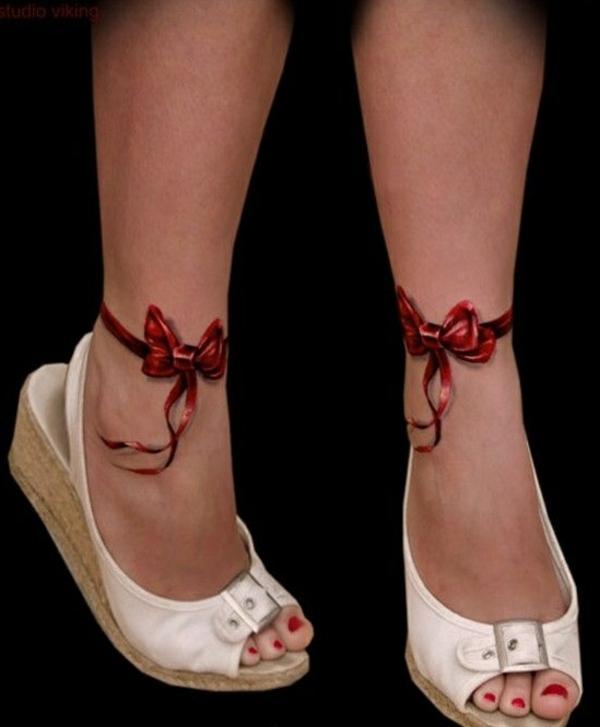 tattoo coole tattoos 3d rote schleifen knöchel