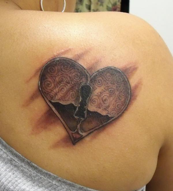 tattoo herzen türschloss ohne schlüssel