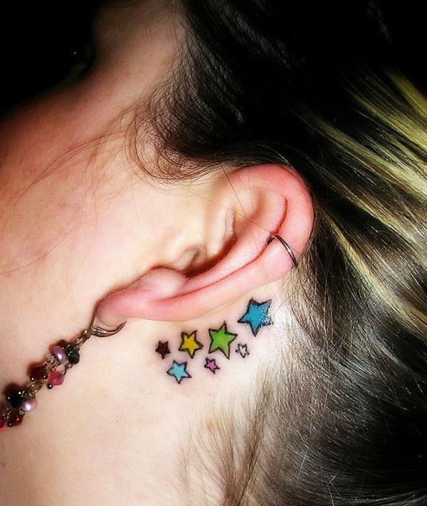 tattoo sterne frauen tattoos designs hinter dem ohr