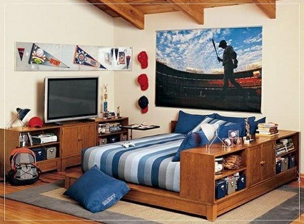 ideen jugendzimmer jungen bett tv lagerraum teppich