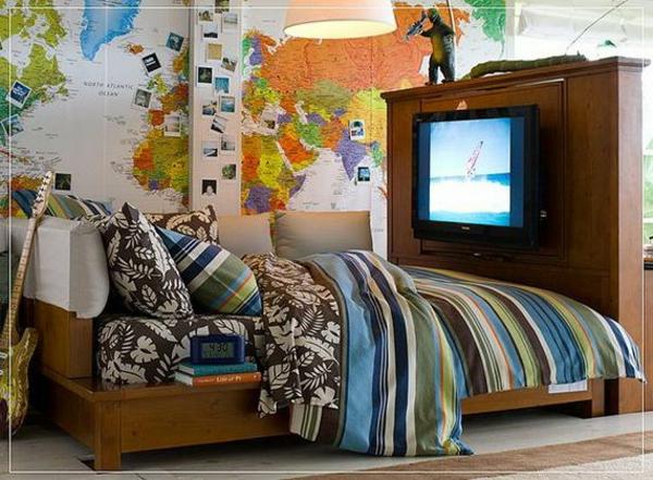 ideen jugendzimmer jungen bett tv landkarte wand