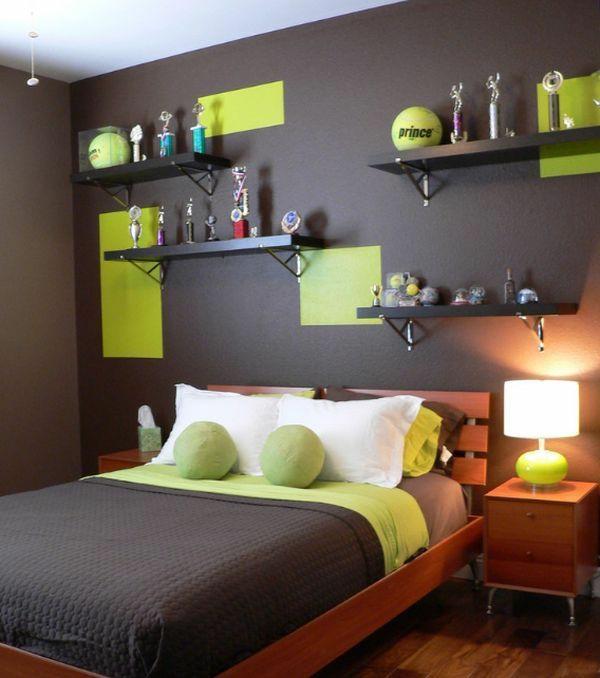ideen jugendzimmer jungen bett wandregale grüne akzente