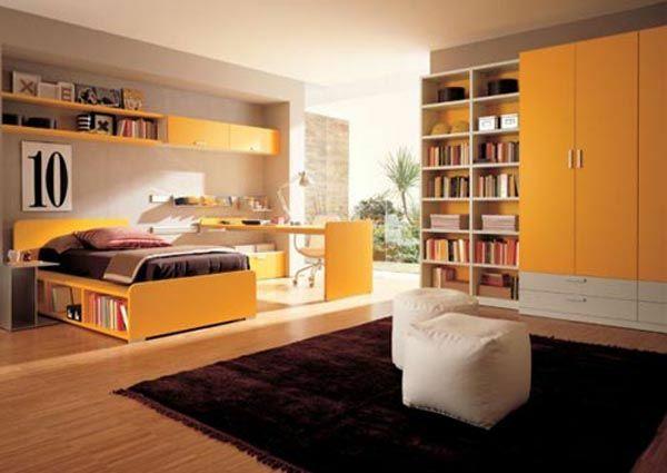 jugendzimmer für mädchen brauner teppich orange möbel