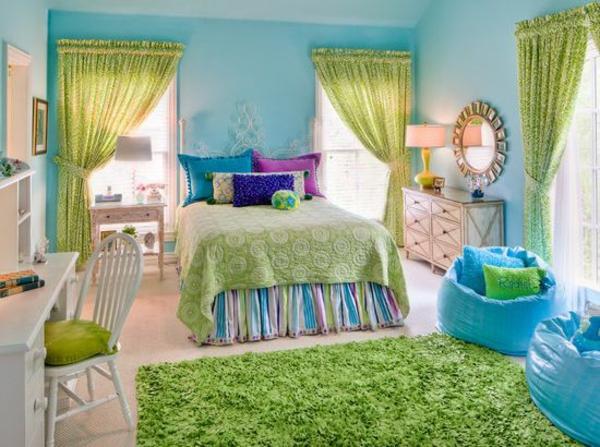 jugendzimmer für mädchen grüne gardinen teppich