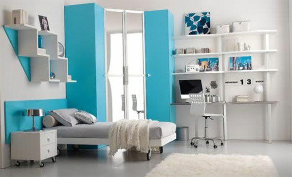 jugendzimmer für mädchen weiß und blau