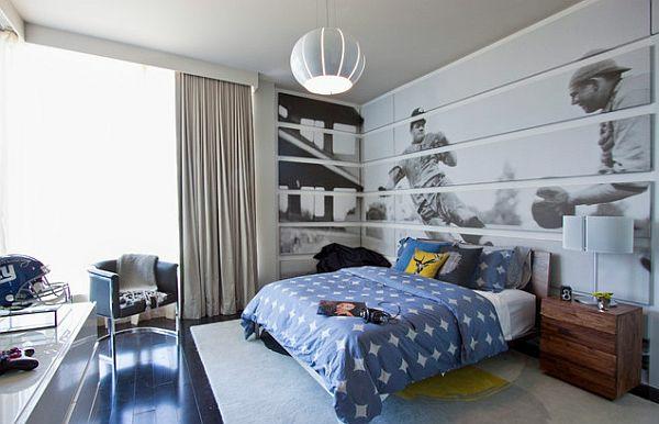 jugendzimmer jungen designideen bett baseball dekotapete