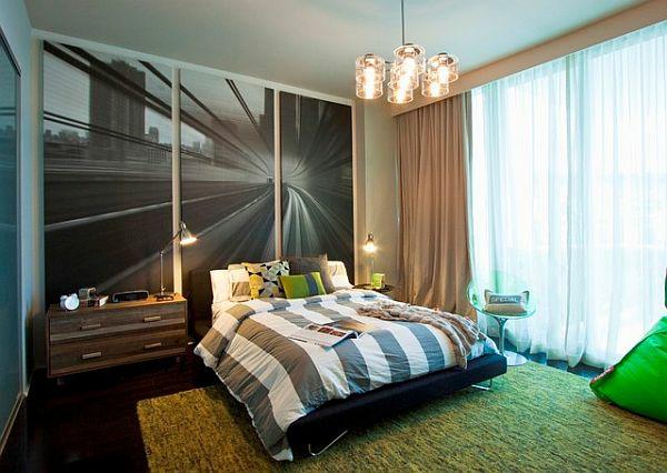 jugendzimmer jungen designideen grüner teppich einbauschrank