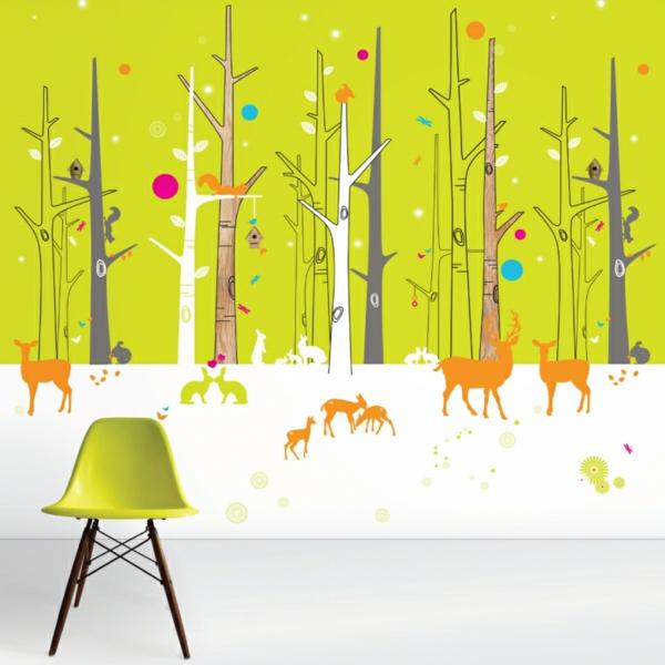 Wandgestaltung Kinderzimmer Tiere : tolle kinderzimmer tapeten wandgestaltung ideen bäume tiere