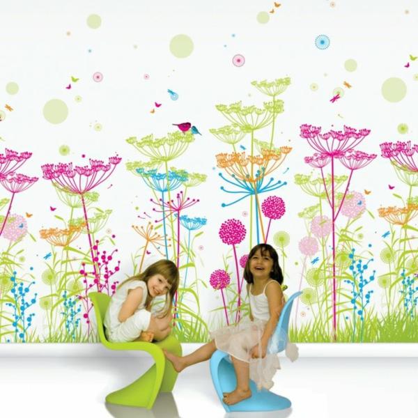 kinderzimmer tapeten wandgestaltung ideen blumenmuster
