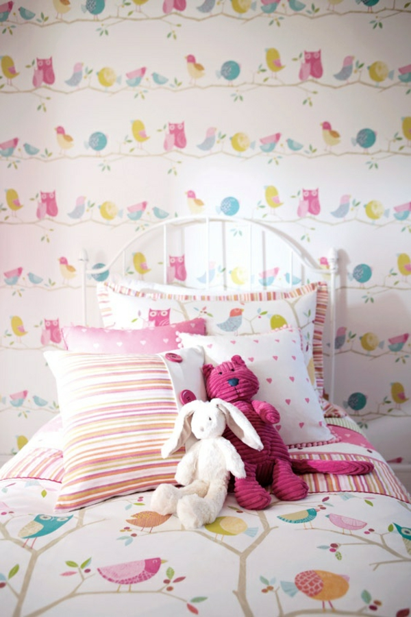Wandgestaltung Kinderzimmer Eulen : tolle kinderzimmer tapeten wandgestaltung zweige vögel eulen