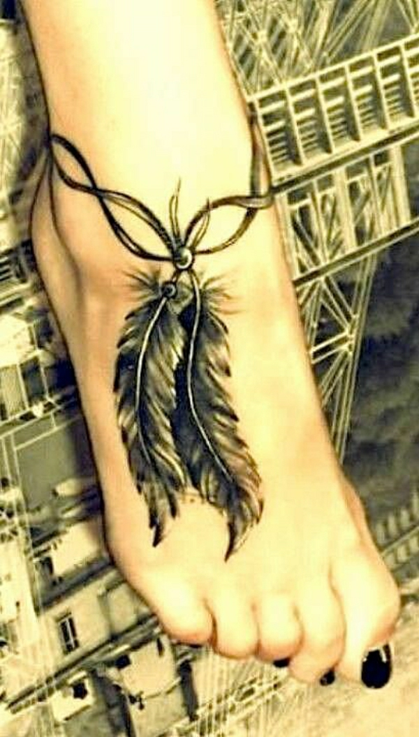 tattoos ideen tattoo fuß schön feder knöchelband