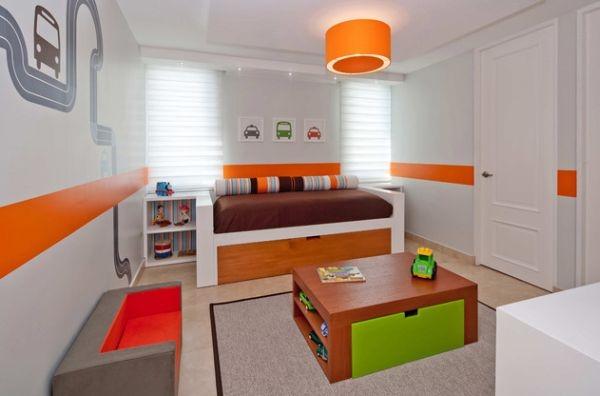 einrichtungsideen jugendzimmer gestalten orange grün