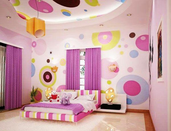 jugendzimmer mädchen dekorative decke punktmuster