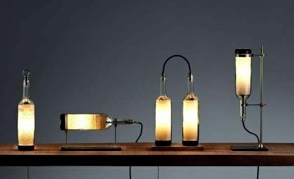 designer leuchten diy lampe aus weinflasche tischdeko