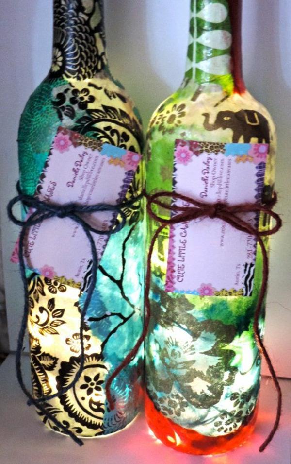 diy lampe aus weinflasche als geschenk