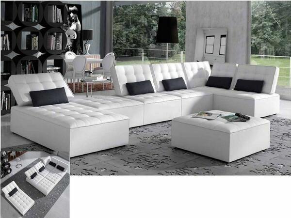 unique möbel ledermöbel scheselong sofa weiß knöpfen