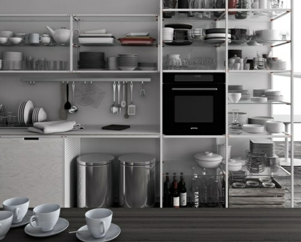 modul küchenmöbel designideen küche minimalistisch lagerraum