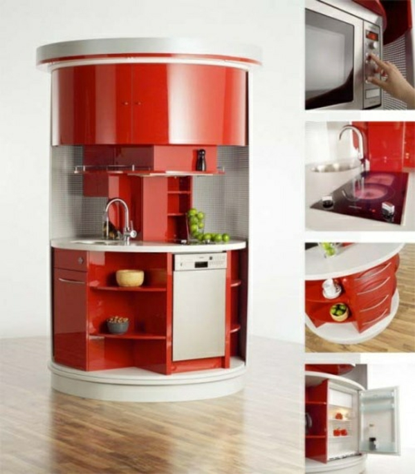 modul küchenmöbel designideen küche rot ovalform