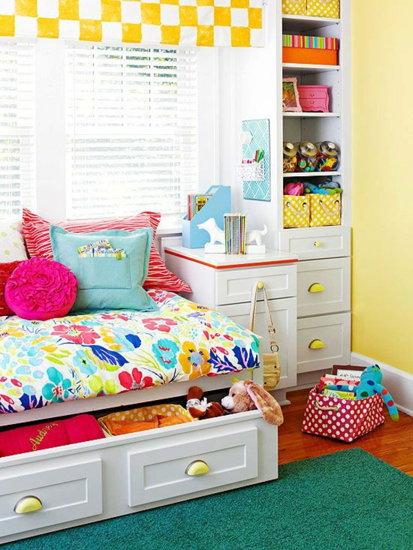 kinderzimmer design gelb weiße quadraten