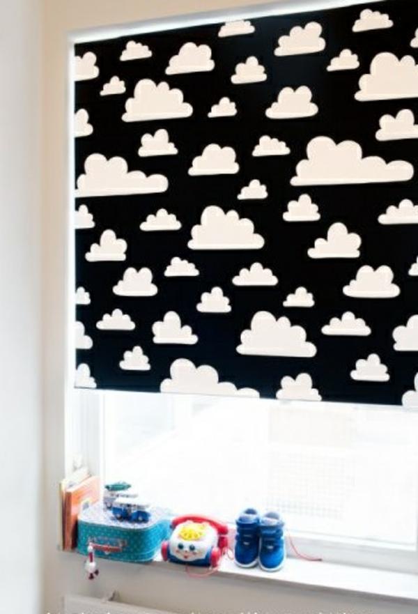 verdunkelungsrollo kinderzimmer rollos wolken muster
