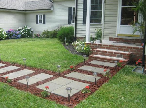 vorgarten gestalten design betonplatten rote steine
