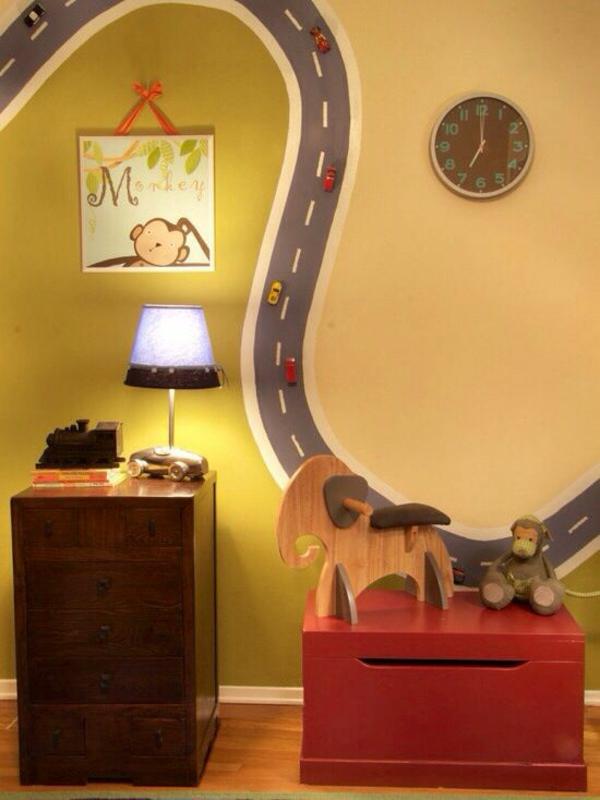 wandmalerei kinderzimmer autobahn motiv