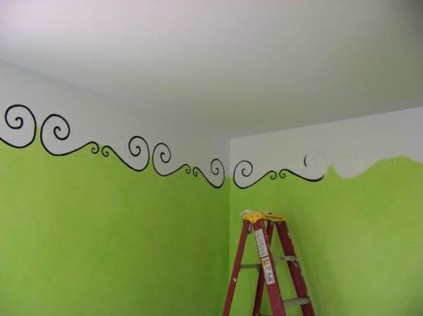 Wandbemalung Kinderzimmer Decke Grune Wandgestaltung