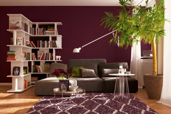 wandfarbe beere schöner wohnen trendfarben lounge moderne wandgestaltung wohnzimmer
