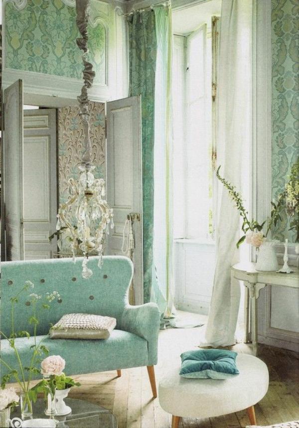 wandfarbe mintgrün gardinenideen wandtapeten muster floral wohnzimmer sofa