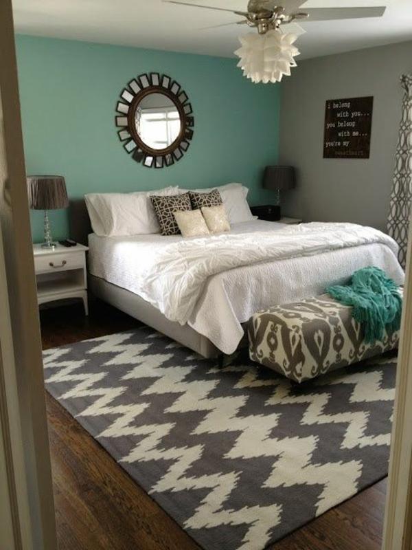 Kühlende Wirkung der Blautöne in Kombination mit Weiß warm Fußboden