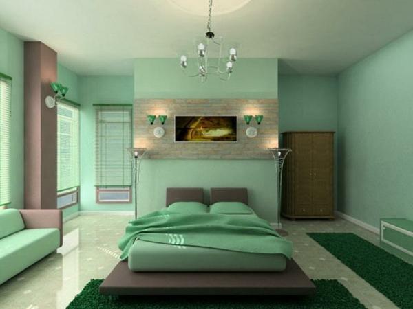 wandfarbe mintgrün schlafzimmer wände streichen bett bettwäsche wandleuchten