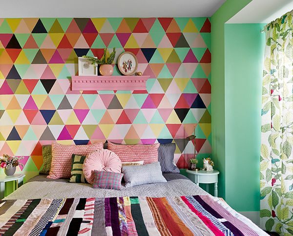 wandfarbe mintgrün schlafzimmer wände streichen kreative wandgestaltung