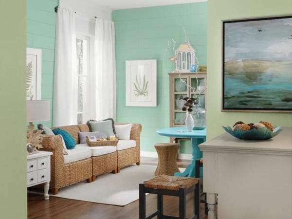 wandfarbe mintgrün wohnzimmer rattan möbel wandfarben grün