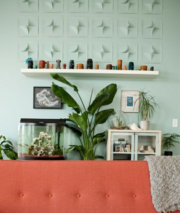 wandfarbe mintgrün wohnzimmer wände streichen wanddeko kreative wandgestaltung