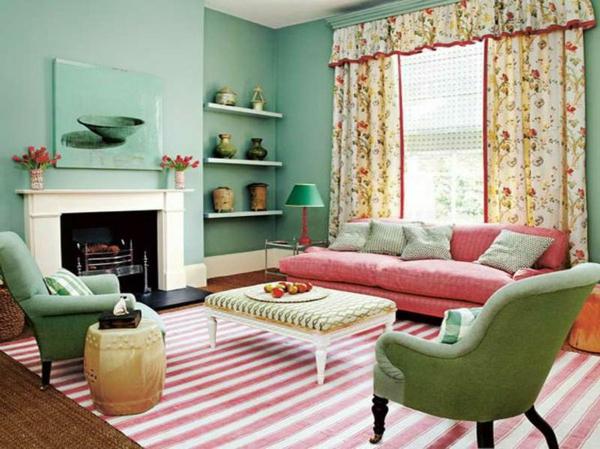 wandfarbe mintgrün wohnzimmer wände streichen farbkontraste setzen