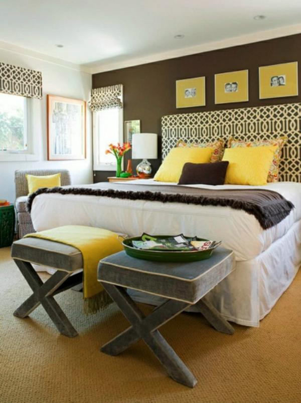 schlafzimmer gestalten brauntne wandfarben brauntne